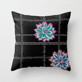 'Not Your Babe' tartan succulent print Throw Pillow