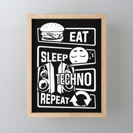 Eat Sleep Techno Repeat - Party Electronic Music Framed Mini Art Print