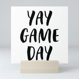 Yay Game Day Football Sports Black Mini Art Print