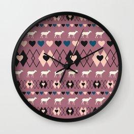 Romantic decor with deer in purple Wall Clock