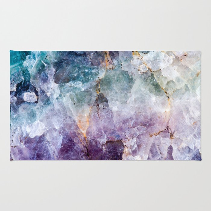 Turquoise & Purple Quartz Crystal Rug