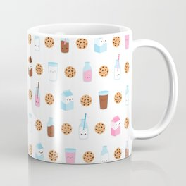 Milk and Cookies Pattern on White Coffee Mug