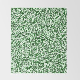 Tiny Spots - White and Dark Green Throw Blanket