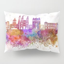 San Salvador skyline in watercolor background Pillow Sham