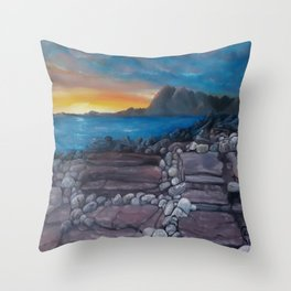 Sunset at Elgol Beach, Fantastic Modern Oil Painting on Canvas, Landscape by Luna Smith Throw Pillow