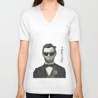 lincoln V-neck T-shirts featuring Baberaham Lincoln by Taiter of the Tot
