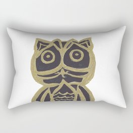 Owl Fun #3 #black #gold #drawing #decor #art #society6 Rectangular Pillow