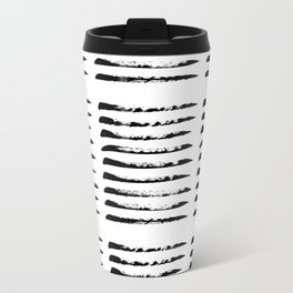 Black squared stripes, hand painted rough texture Travel Mug