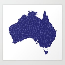 Australia Map Mosaic Art Print