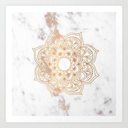 Copper flower mandala - marble Art Print