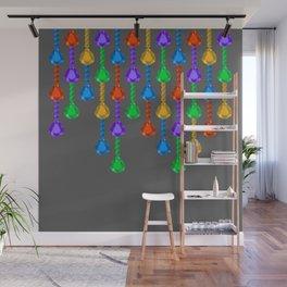 Colorful jewel stones in jewel tones rain curtain dark Wall Mural
