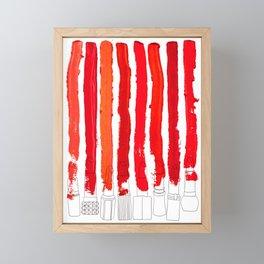 Lipstick Stripes - Red Shades Framed Mini Art Print