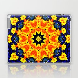 Yellow Orange Floral Madala  Background Dark Blue Laptop & iPad Skin