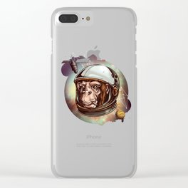 Space Monkey Astronaut T Shirt Clear iPhone Case