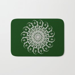 Mandala #104, Deep Green and White Bath Mat