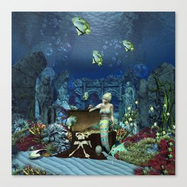 Wonderful mermaid with cute crab Canvas Print