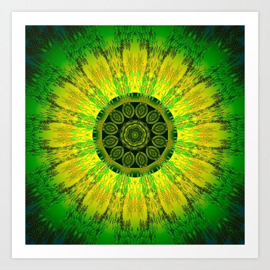 Lemon Lime Mandala  Art Print