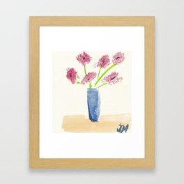 Pink Flowers in Blue Vase Framed Art Print