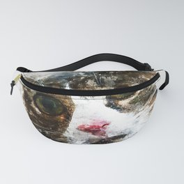 cat for real watercolor mix Fanny Pack