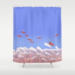 Flying cherry shrimp Shower Curtain