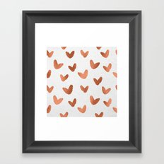 Valentines Day Rose Gold Hearts - Pink Love Pattern Framed Art Print