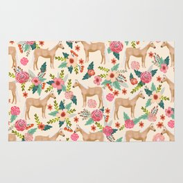 Palomino Horse floral farm nature animal horse lovers ponies florals Rug