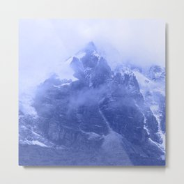 Rocky Mountain Fog Blue Metal Print