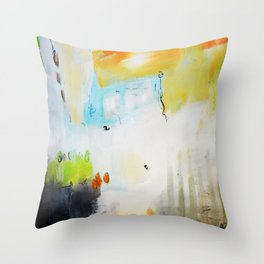 Green gold abstract Throw Pillow