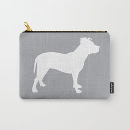 Pitbull silhouette grey and white minimal modern dog breed art pillow square Carry-All Pouch