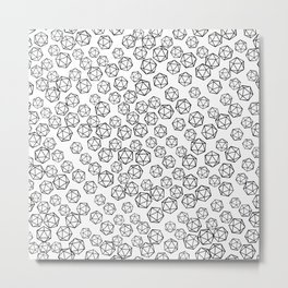 D20 Pattern - B&W Metal Print