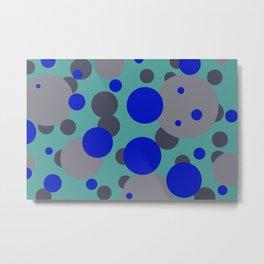 bubbles blue grey turquoise design Metal Print
