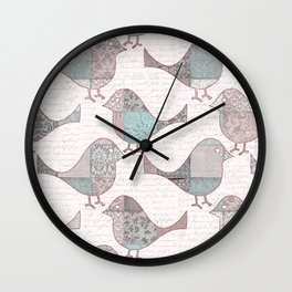 Vintage  Patchwork Birds handwriting pastel pattern Wall Clock