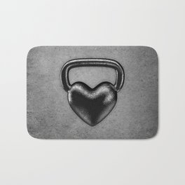 Kettlebell heart / 3D render of heavy heart shaped kettlebell Bath Mat