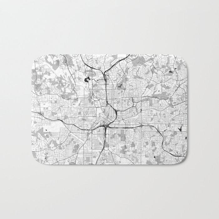 Atlanta City Map Gray Bath Mat