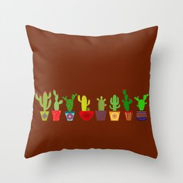 Cactus in brown Throw Pillow
