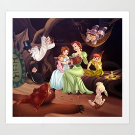 Belle, Wendy and the Lost Boys Art Print