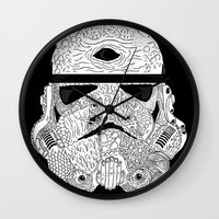 gore Wall Clocks featuring Gore Trooper Blk/Wht by Josh Ln