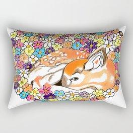Fawn in a flowers heart Rectangular Pillow