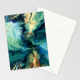 Marbled Ocean Abstract, Navy, Blue, Teal, Green Stationery Cards