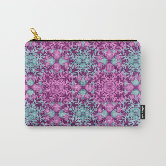 Blue pink floral pattern Carry-All Pouch