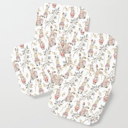 Cute Easter Bunnies with Watercolor Flowers,Sprigs and Leaves Coaster