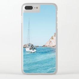 Sailboat in Mallorca Spain Clear iPhone Case