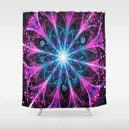 Winter violet glittered Snowflake or flower Background Shower Curtain
