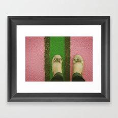 vintage pink & green Framed Art Print