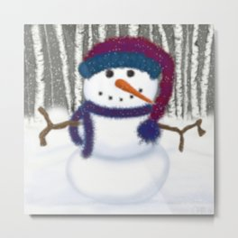 Puffy The Snowman Metal Print