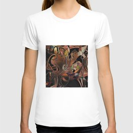 Deception copper gold brown Lines tangled design pattern T-shirt