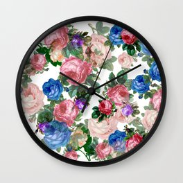 Floral pattern, blue roses,lisianthus. Wall Clock