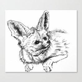 Fennec fox - cute animal print, wall decor, wall art, black and white Canvas Print
