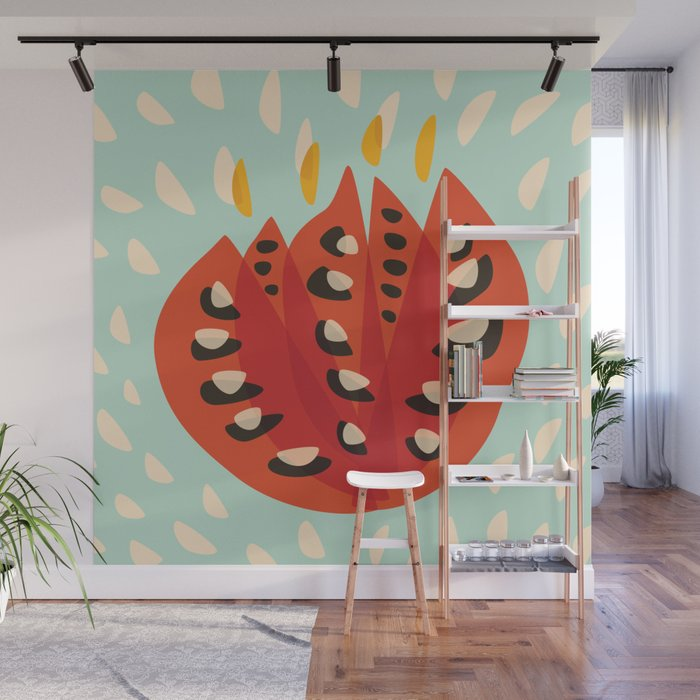 Red Abstract Tulip Wall Mural