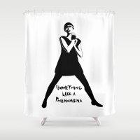 karen hallion Shower Curtains featuring Karen O Yeah Yeah Yeahs  by hello Malcolm